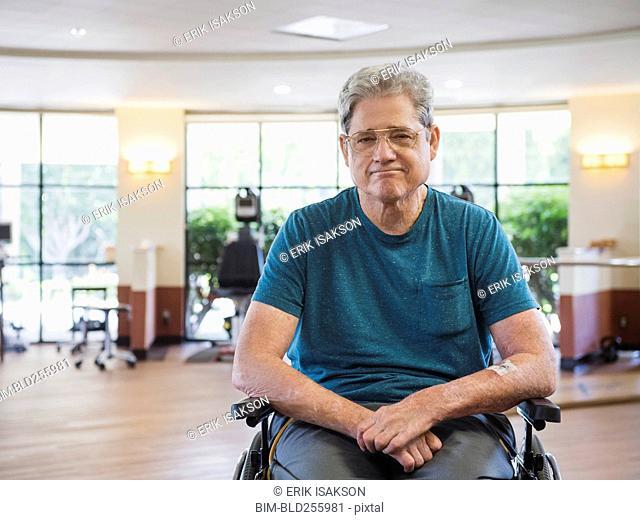 Portrait of Caucasian man sitting in wheelchair