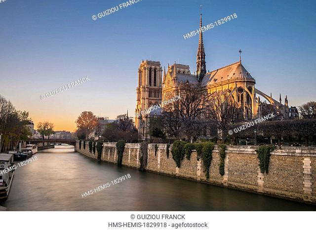 France, Paris, area listed as World Heritage by UNESCO, Notre-Dame de Paris cathedral, Ile de la Cite