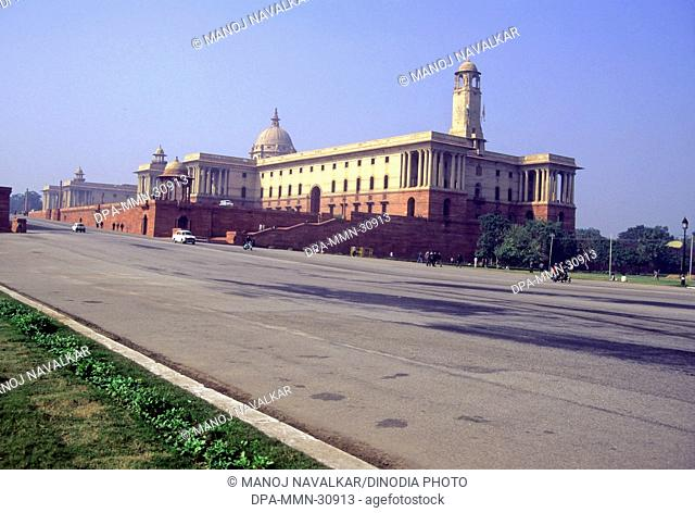 View of Rashtrapati Bhavan (north block) from Rajpath , New Delhi , India
