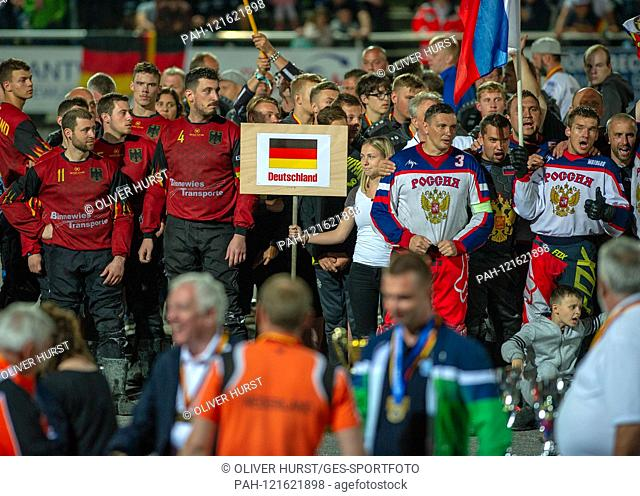 Award ceremony, right of the winner Russia and left the German team. GES / Motoball / European Championship, Final: Germany - Russia, 22.06.2019