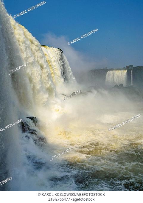 Brazil, State of Parana, Foz do Iguacu, View of the Devil's Throat, part of Iguazu Falls