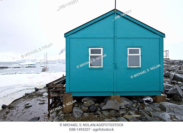 View of the refuge hut at Damoy Point in Dorian Bay, Wiencke Island, Palmer Archipelago, Antarctica  MORE INFO The British Antarctic Survey originally...