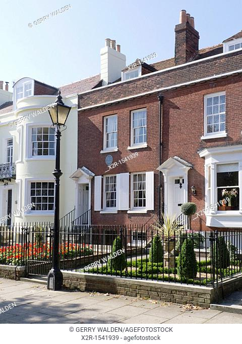 The Regency styled birthplace of Charles Dickens, the famous English writer and diarist, in Old Commercial Road, Portsmouth in Hampshire, England