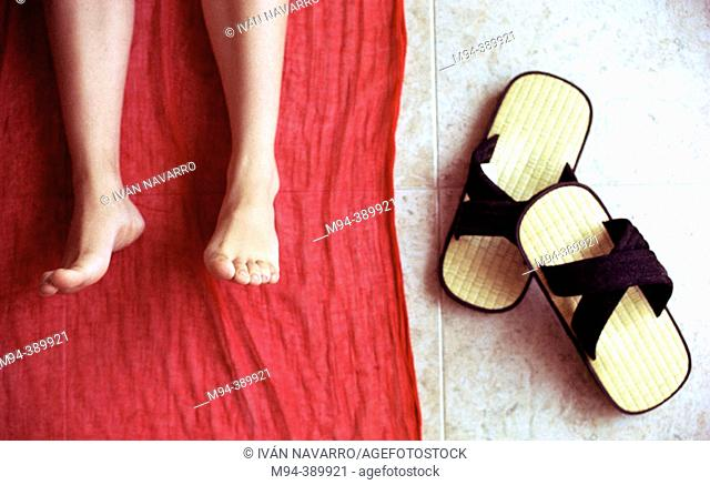 Feet and Japanese sandals