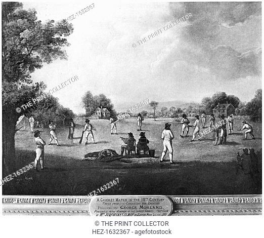 A cricket match, 18th century (1912). From Imperial Cricket, edited by P F Warner and published by The London and Counties Press Association Ltd (London, 1912)
