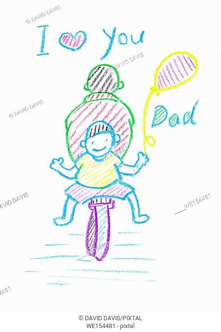 Kids crayon drawing of a Father's Day card, with a white background and copy space