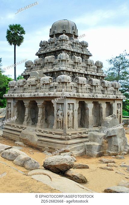 Dharmaraja ratha, circa 7th Century A. D. , Mahaballipuram, Tamilnadu. Dharmaraja Ratha is the most impressive