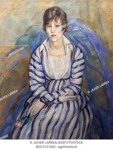 """""""Portrait of Maria Llimona"""", 1917, Joaquim Sunyer, National Museum of Catalan Art, Museu Nacional d Art de Catalunya, MNAC, Barcelona, Spain, Europe"