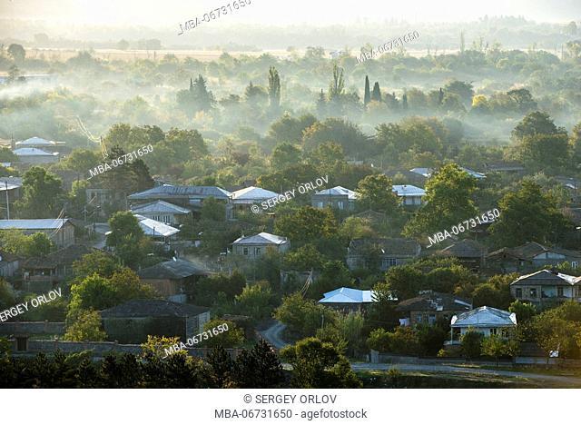 Gremi, village, trees, sunrise, roof, forest, harmony, Kakheti, Georgia