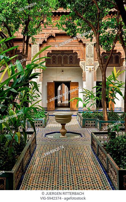 MOROCCO, MARRAKESH, 16.05.2016, inner courtyard decorated in moorish style of Bahia Palace, Marrakesh, Morocco, Africa - Marrakesh, Morocco, 16/05/2016