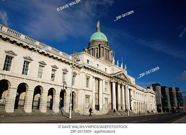 Custom House, Dublin, by architect James Gandon. The building was used to collect custom duties, but by the 20th century it had become a local government...