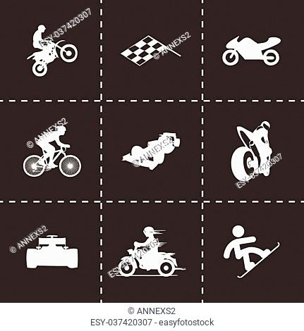 Vector black racing icons set on black background