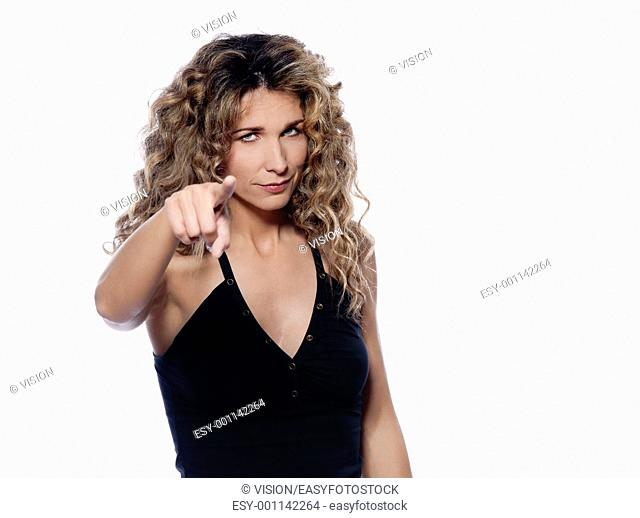beautiful caucasian woman pointing portrait isolated studio on white background