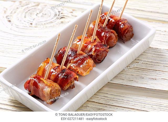 pinchos Bacon wrapped dates pintxos tapas from Spain food