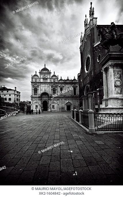 Scuola Grande di San Marco and Statue of Bartolomeo Colleoni, Castello, Venezia, Italia