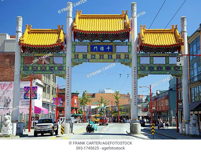Vancouver Chinatown's Millennium Gate across Pender Street was built to inaugurate the new Millennium, symbolic of the past and future and Asia and the West