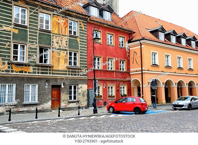 Residential buildings and building with arcades - first right - Mamaison Hotel Le Regina, koscielna street, New Town, Warsaw, Poland, Europe