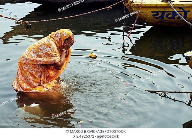 Morning prayers on the ghats of River Ganges  Varanasi, Uttar Pradesh, India
