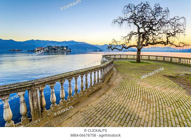 Isola bella seen from Stresa's lake front. Lake Maggiore, Italy