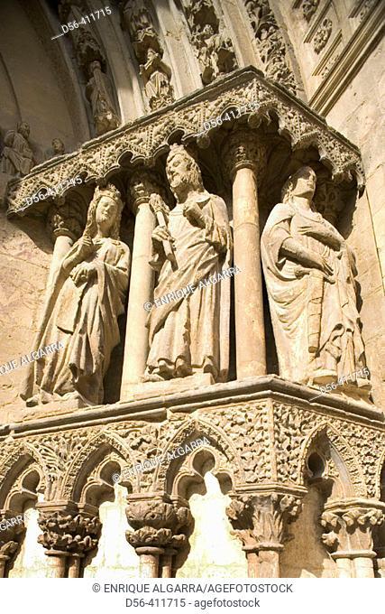 Portico detail. Cathedral. El Burgo de Osma, Soria province. Spain