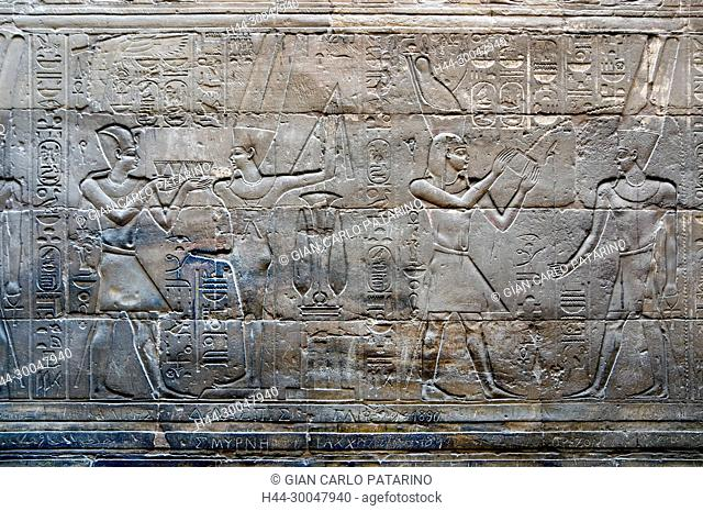 Luxor, Egypt. Temple of Luxor: the pharaoh incenses gods Min and Amon Ra