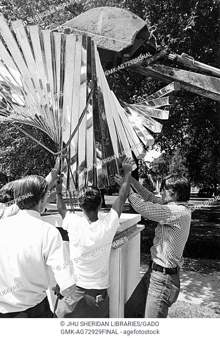 Construction of the centennial sculpture, created by sculptor David Brown to mark the one hundredth anniversary of the founding of Johns Hopkins University on...