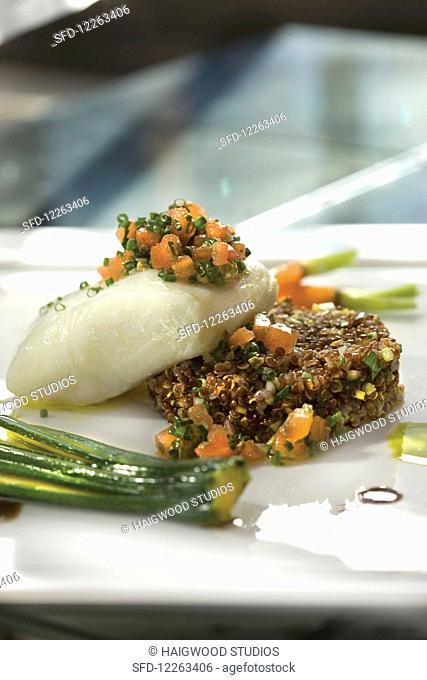 Olive Oil Poached Alaskan Halibut, Caper Salsa, and Spring Quinoa