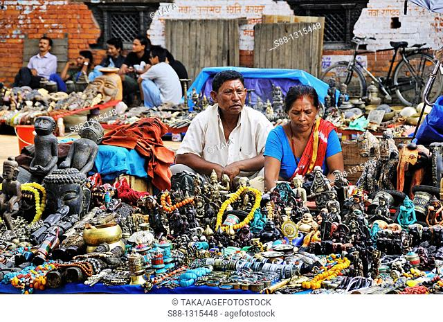 At Basantapur Dabali Square in Hanuman Dhoka Durbar world heritage monument zone, there are many souvenir shops  Many items of the souvenirs are come from Tibet