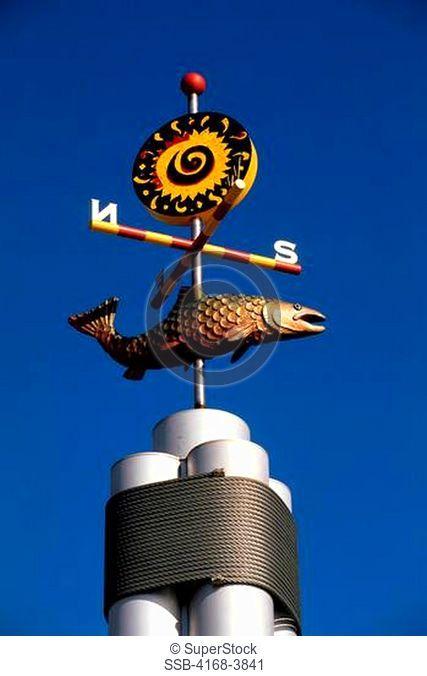 Usa, Washington, Seattle Waterfront, Decorative Weather Vane, Salmon