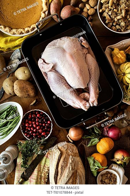 View of preparation of thanksgiving turkey