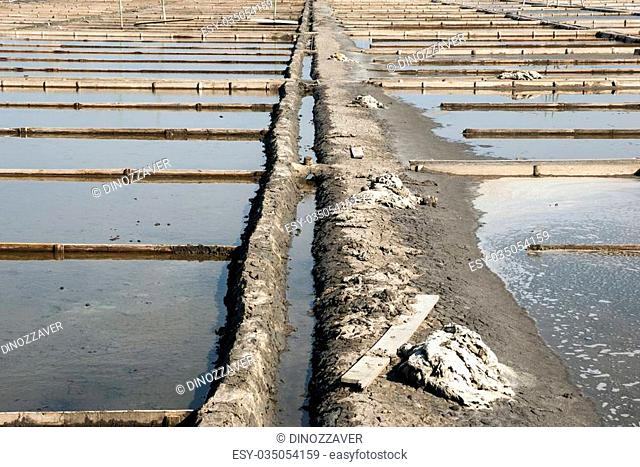 Drain and canal system at salt evaporation ponds, Aveiro, Portugal