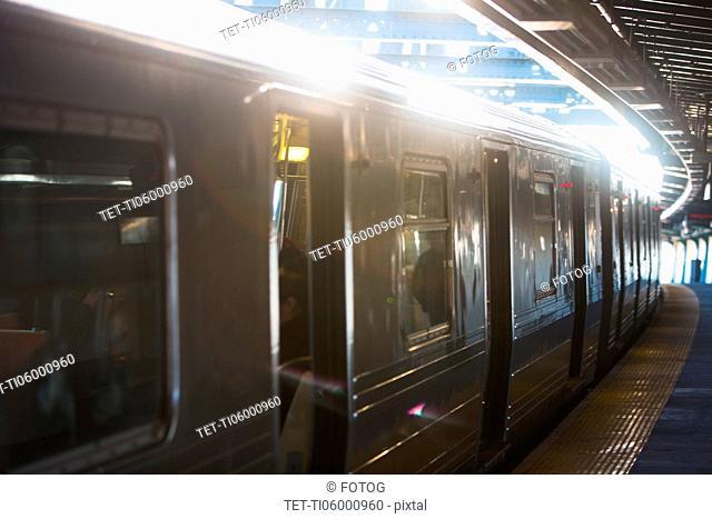 USA, New York, New York City, Subway train at station