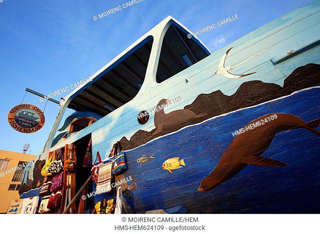 Ecuador, Galapagos Islands, San Cristobal Island, boat converted into a souvenirs shop