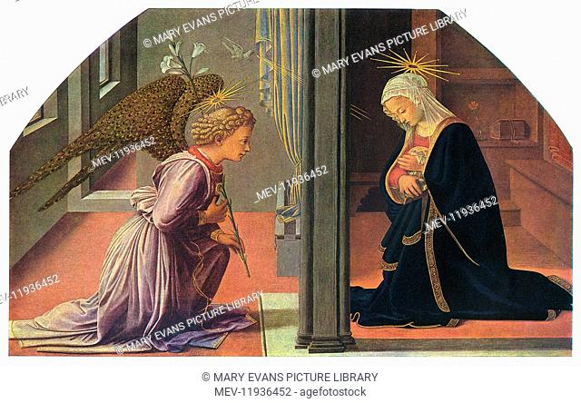 The Annunciation by Fra Filippo Lippi (c.1406-1469) - painted on wood panel 1445-1450