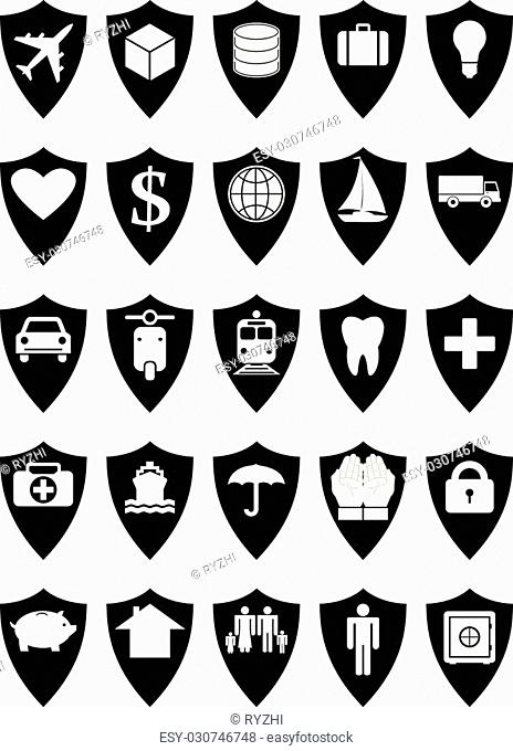 Protective shields insurance set. Every icon composed of protective shield covering something, like transport, cargo, savings, health, family, house, income