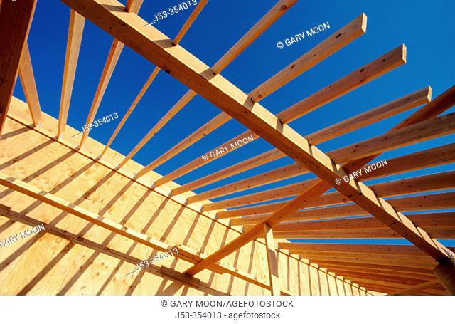 Roof framing. Residential single family house