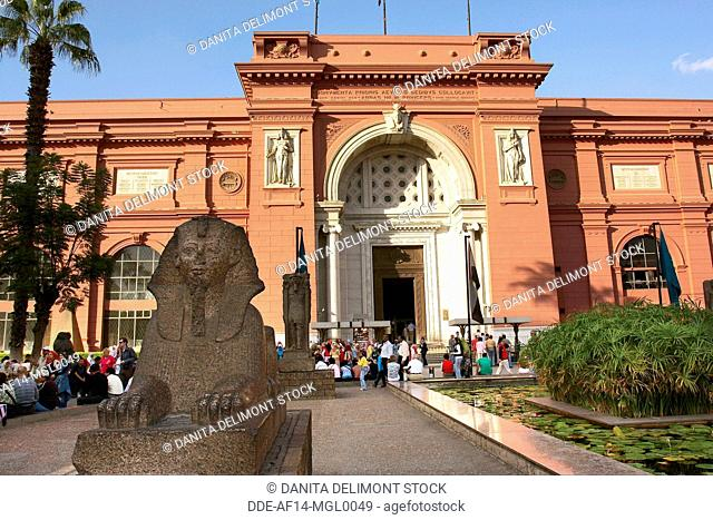 Egypt, Cairo, the Museum of Egyptian Antiquities, Small Sphinx statue in front