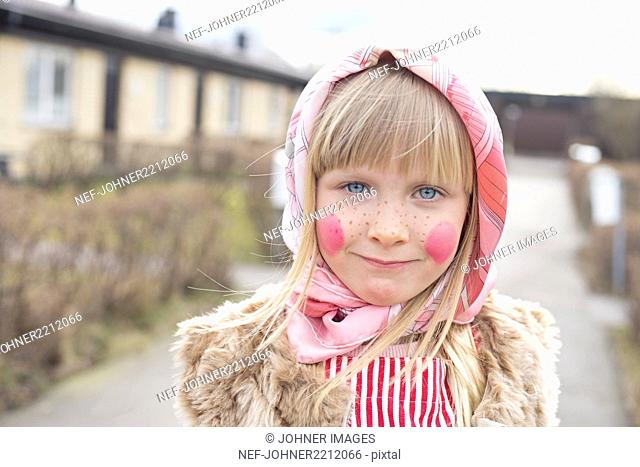 Portrait of girl dressed up as Easter witch