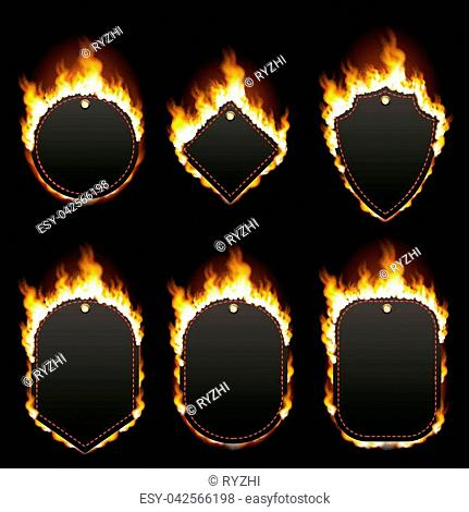 Set of six frames of different shapes with text space surrounded with realistic flame isolated on black background. Burning fire light effect