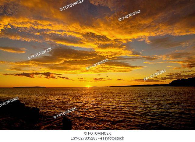 Sunset on the island of Mali Losinj, Croatia