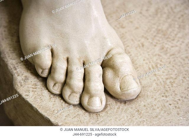 Detail of foot from sculpture, Vatican museum, Rome, Italy