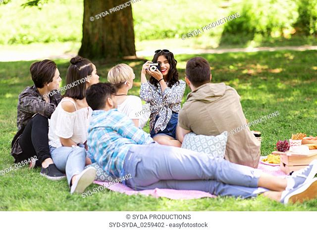 friends photographing at picnic in summer park