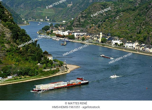 Germany, Rhineland Palatinate, Sankt-Goarshausen, the romantic Rhine listed as World Heritage by UNESCO