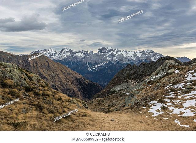 Italy, Trentino Alto Adige, Adamello Brenta Park, Brenta group view from Nambrone vally