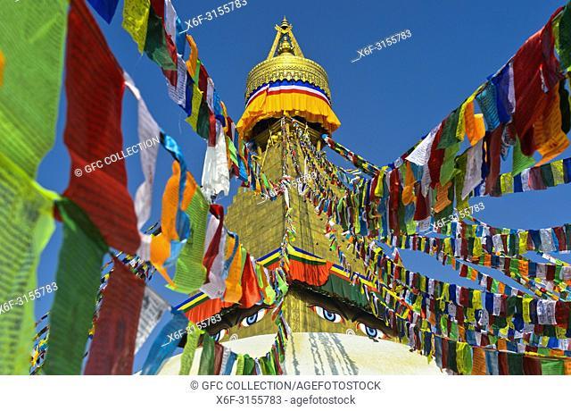 Prayer flags at the Boudhanath Stupa, Kathmandu, Nepal