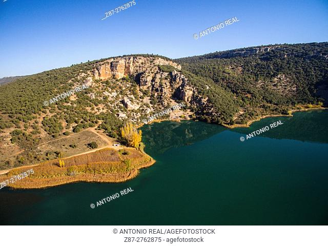Aerial photography using a drone: Laguna del Tobar, Beteta, Ruta del Mimbre, Serranía de Cuenca, Cuenca province, Castilla-La Mancha, Spain