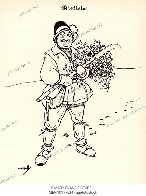 A man gathering mistletoe gives a rather cheeky smile perhaps with the thought of its effect on those who stand under it!