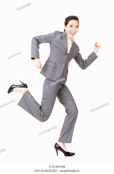 Happy running Asian businesswoman, full length portrait isolated on white background