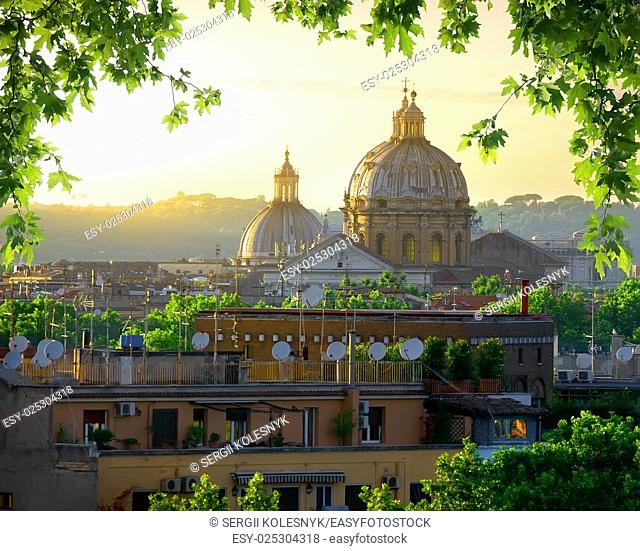Dome of Vatican and nature at sunset, Rome, Italy