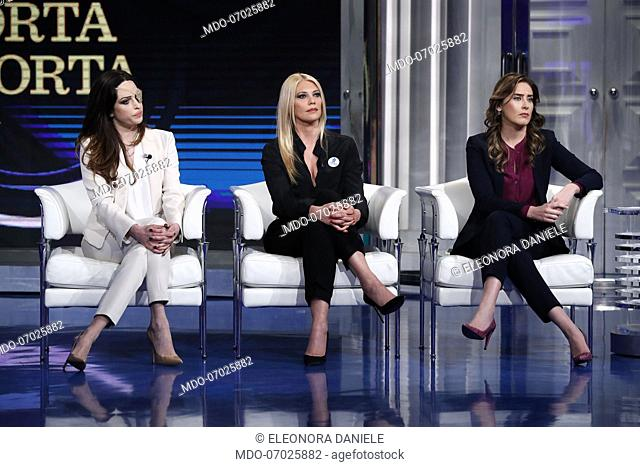 Gessica Notaro, italian television host Eleonora Daniele, Maria Elena Boschi guest at the TV show Porta a Porta which talks about Violence on women